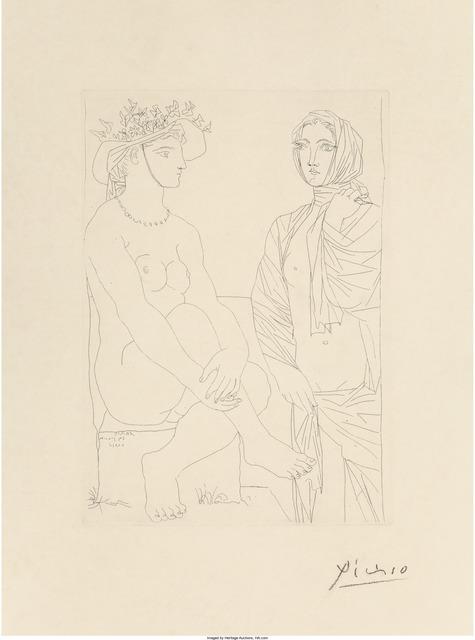 Pablo Picasso, 'Femme assise au chapeau et femme debout drapée, pl. 79, from La Suite Vollard', 1933, Heritage Auctions