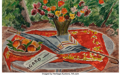 Table au vase de fleurs, aux peches, au Le Figaro et a l'ombrelle