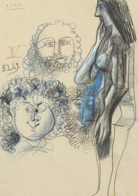 , 'Nu debout et trois têtes d'hommes, 4-5 February 1969,' 1969, Opera Gallery