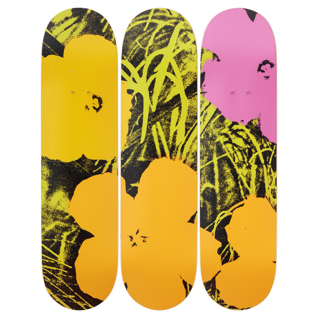 Andy Warhol, 'Flowers (Green/Pink) Skateboard Decks after Andy Warhol', 2019, Design/Decorative Art, 7-ply Canadian Maplewood with screen-print, Artware Editions