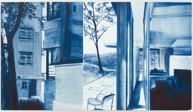 Rebecca Chamberlain, 'Lescaze, Public/Private Between Walls, Homatorium', 2015, Painting, Lithography ink on gessoed, muslin wrapped panel, Children's Museum of the Arts Benefit Auction