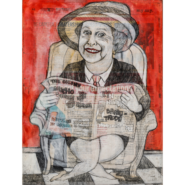 Eria Sane Nsubuga, 'Elisabeth holding the colony (Newspaper)', 2017, PIASA