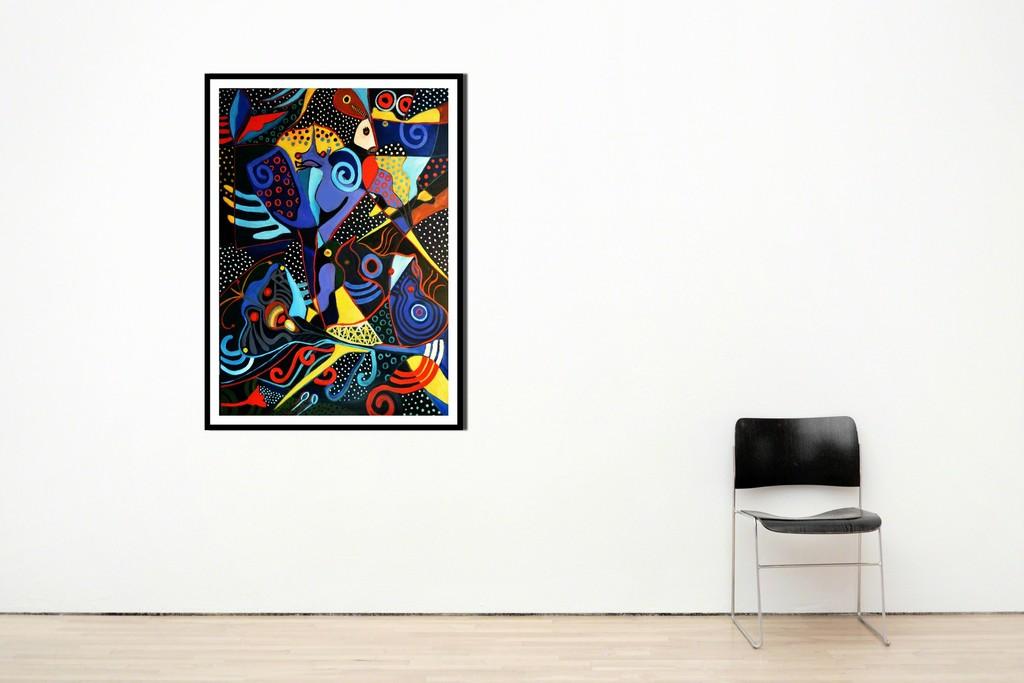 """'Deep Sea Life' by Rolando Duartes. Acrylic and oil on canvas. 150 x 80 cm (59.1 x 31.5"""")"""