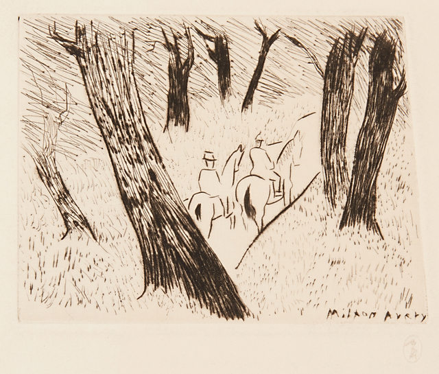 Milton Avery, 'Riders in the Park', 1934, Print, Drypoint, Rago/Wright