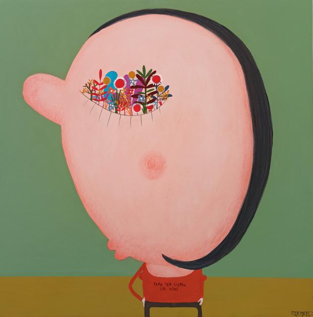 Moisés Yagües, 'Cierro los ojos para ver', 2021, Painting, Mixed media on board, Galería Marita Segovia