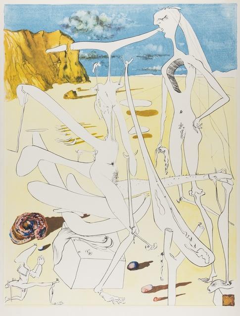 Salvador Dalí, 'Infra-terrestres adorés par Dalí à 5 ans car il se croyait insecte (M & L 649)', 1974, Print, Drypoint with embossing printed in colours, Forum Auctions