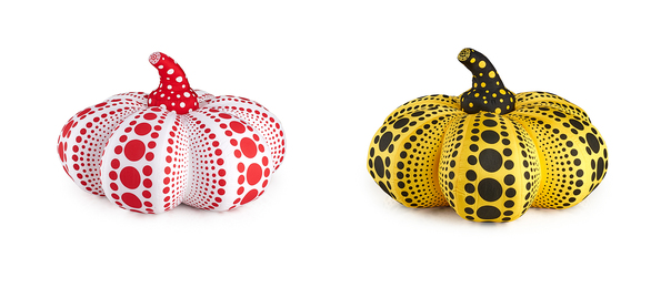 Two Large Soft Sculpture Pumpkins (Red/White and Yellow/Black)