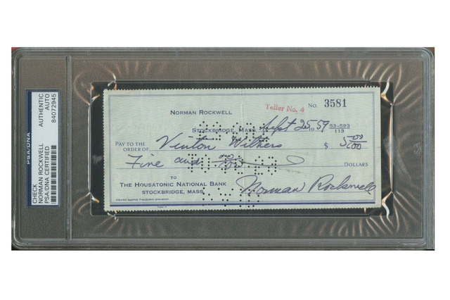 "Norman Rockwell, '""Vinton Withers"", $5 Personal Check, SIGNED/Filled Out by Rockwell, The Housatonic National Bank Mass. ', 1959, VINCE fine arts/ephemera"