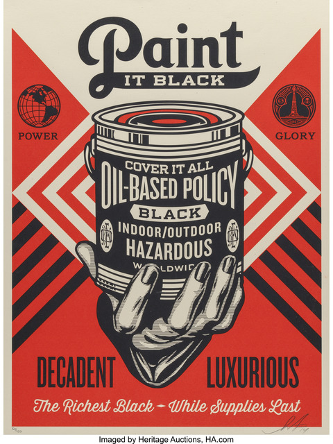 Shepard Fairey (OBEY), 'Paint it Black (Brush) and Paint it Black (Hand)', 2014, Heritage Auctions