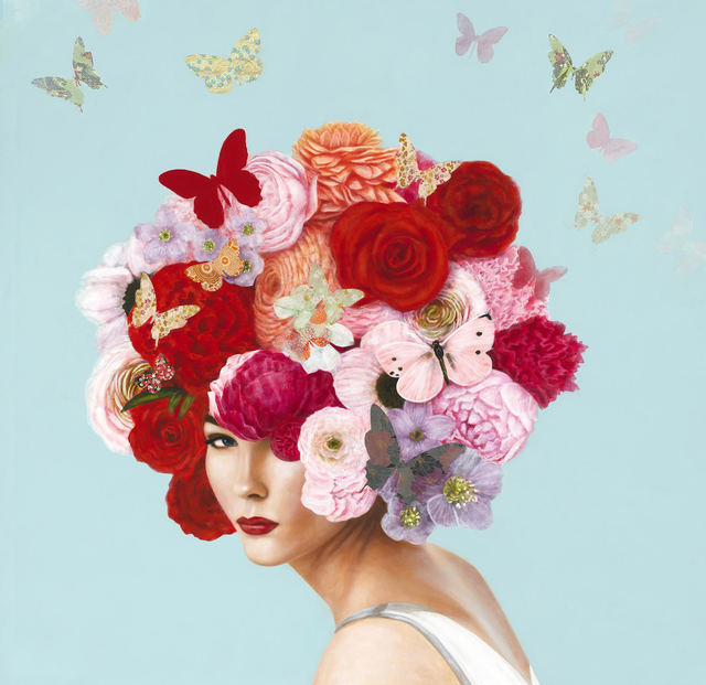 """Elise Remender, '""""Summer Botanical"""" Surrealistic oil painting of a woman with a head dress of pink and red flowers and butterflies', 2019, Eisenhauer Gallery"""