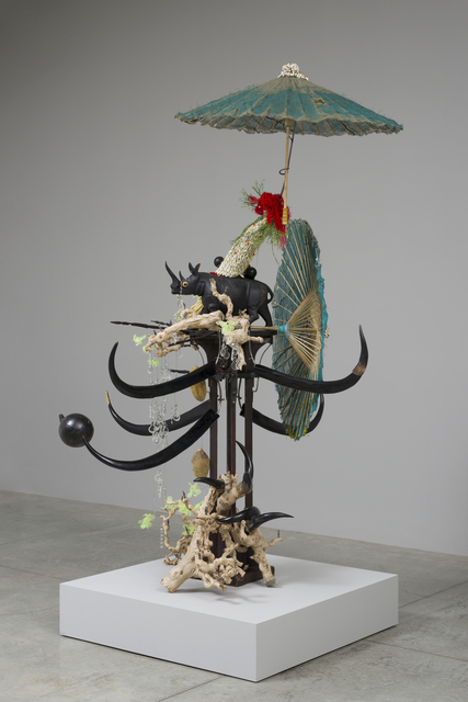 , 'Make me a summary of the world! She was his guide and had traveled on camel, rhino, elephant and kangaroo, dedicated to dried plants, glass houses – for medical study, vegetable sexuality, self-pollination, fertilization her reach pierced the woods country by country,' 2014, San Jose Museum of Art