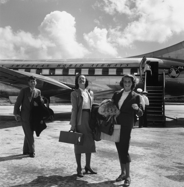 , 'John F. Kennedy with Shirley Rogan Ellis and Betty LoSavio, Montego Bay Airport, Jamaica,' 1953, Staley-Wise Gallery