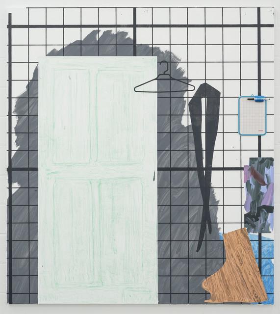 Melissa Gordon, 'Une Femme Pendue (Rubbing of Door, off-cut of wood, Tights, Coat Hanger, Dry-erase Board)', 2019, Deweer Gallery