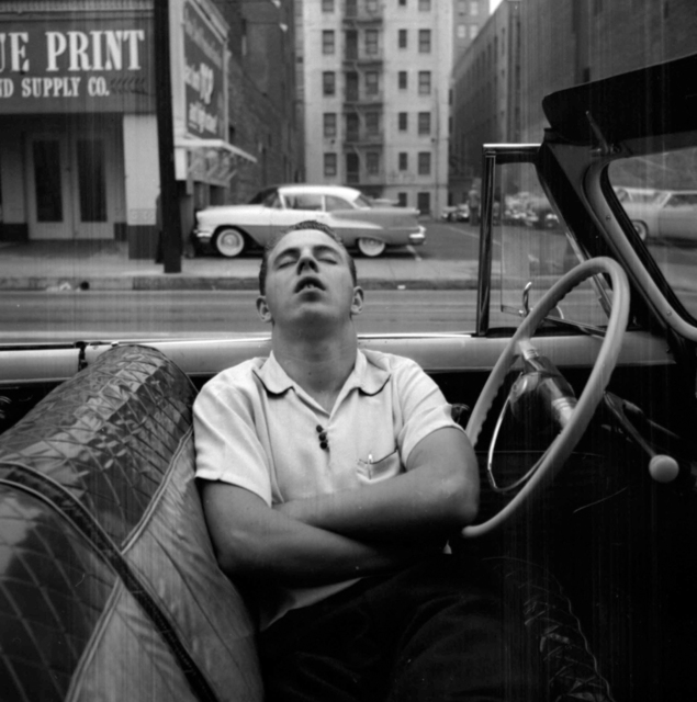 , 'VM1955W02739 – New York, NY, 1955 Man Sleeping in Car,' Printed 2017, KP Projects