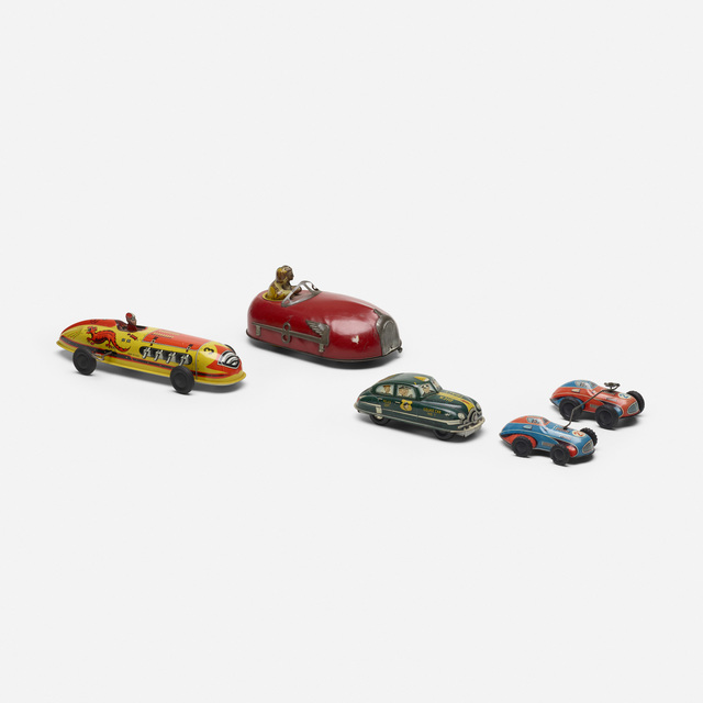Unknown American, 'collection of five vintage toy cars', c. 1950, Wright