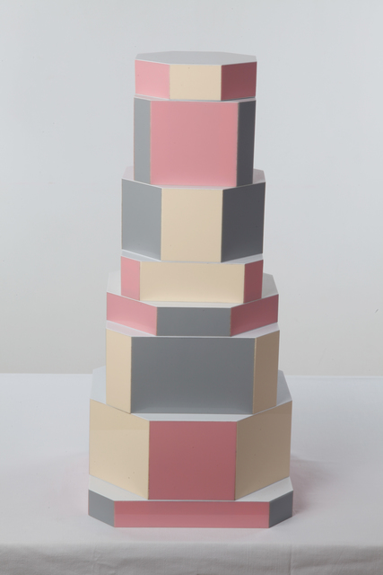 ", '""Ziggurat Tower"" set of stacking boxes, Beqaa Pixels Edition,' 2012, Carwan Gallery"