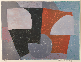 Composition in Gray, Red and Green