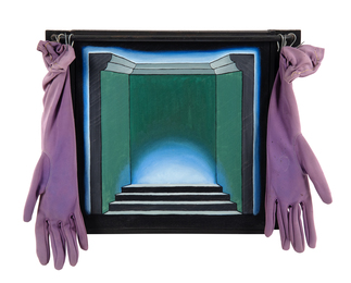 Untitled (Stepped Stage with Velvet Glove Curtains)
