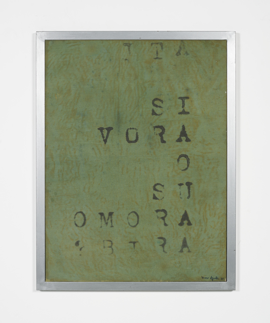 Vincenzo Agnetti, 'Frammento di macchina drogata', 1968, Painting, Photographic enlargement on green emulsioned canvas, OSART GALLERY