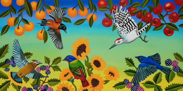 Billy Hassell, 'Birds and Fruit Trees with Blackberries and Sunflowers', 2019, Conduit Gallery