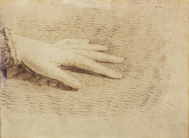 Giuseppe Pellizza da Volpedo, 'Hand', 1885, Drawing, Collage or other Work on Paper, Ink on paper, Bertolami Fine Arts