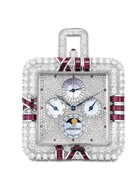 Audemars Piguet, 'An exceptional and possibly unique white gold, diamond, ruby and mother-of-pearl perpetual calendar watch', 1994, Phillips