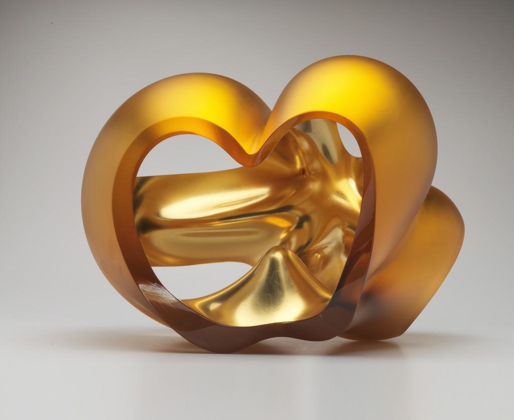 "Barbara Nanning, ""Verre d'églomisé"" with orange gold, glass"