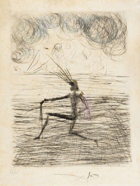 Salvador Dalí, 'Chevalier à genou (Field 69-1K; M&L 305k)', 1968/1969, Print, Etching with hand colouring in watercolour and gold, Forum Auctions