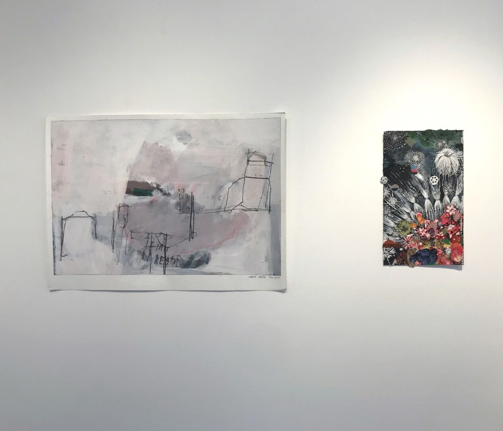 """""""Storylines: Works on Paper by Sally Gil & Jimmie James,"""" installation view."""