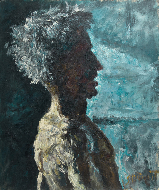 Samuel Rothbort, 'Profile in Shadow - Self Portrait', Painting, Oil on canvas-covered on board, FRED.GIAMPIETRO Gallery