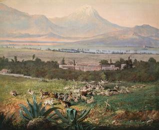Vista del Valle de México con Hacienda y Volcán
