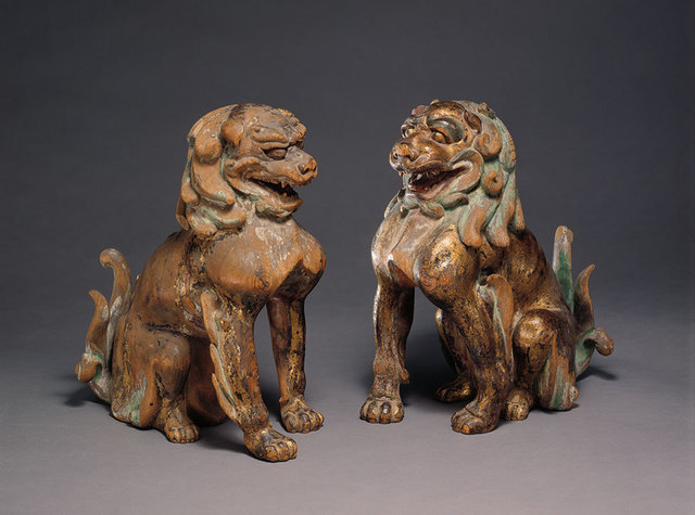 , 'Two Lion-Dogs (Komainu),' 13th century, Asia Society