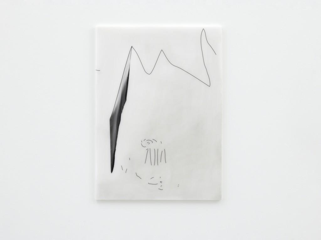 Julia Haller. Untitled, 2018. Graphite, acrylic, varnish on mineral composite board. 60 x 43 cm