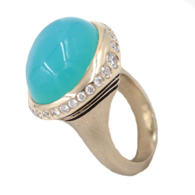 , 'Chalcedony Diamond Gold Ring ,' , form & concept