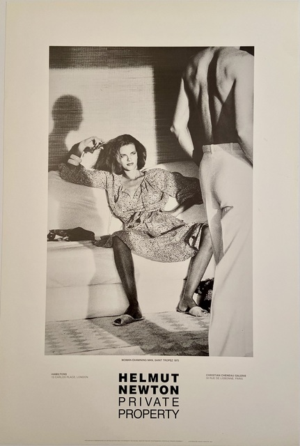 """Helmut Newton, 'Rare Limited Helmut Newton """"Private Property"""" Gallery Lithographic Poster (features the photo 'Woman Examining Man, Saint Tropez, 1975"""")', 1985, Posters, High Quality Lithographic Gallery Exhibition Poster, David Lawrence Gallery"""