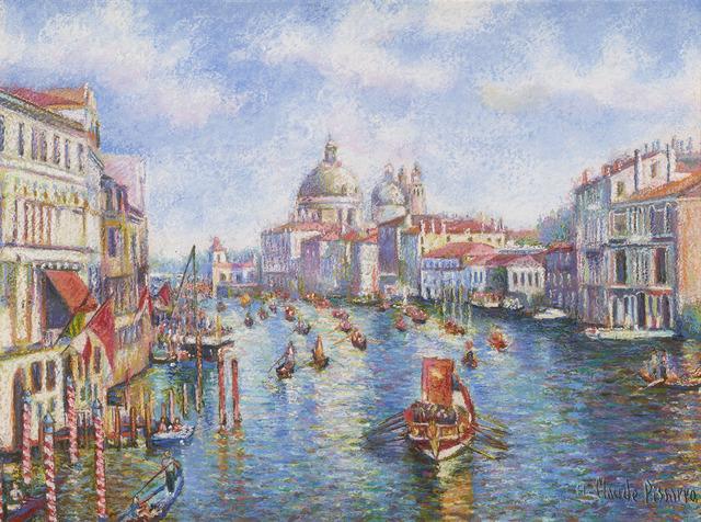 Hugues Claude Pissarro, 'La Parade Nautique du 15 Août, à Venise (The Nautical Parade of August 15, in Venice)', 1935,  M.S. Rau