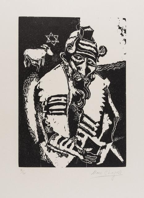 Marc Chagall, 'Le Juif Priant, Juif à la Thora, La Maison, L'Homme au Sac, Chèvre et Violin, L'Ecuyère et le Coq, (Kornfeld 31 III, 32 IV b, 33II b, 34 II b, 35 c and 84)', 1922-23, Print, The set of six wood engravings, Forum Auctions