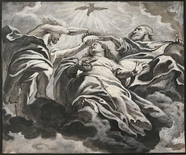 , 'Le couronnement de la Vierge, L'Ange et Le Bénédicité Détail de plafond de l'Église des Jésuites d'Anvers,' 1620-1680, SERGE PLANTUREUX