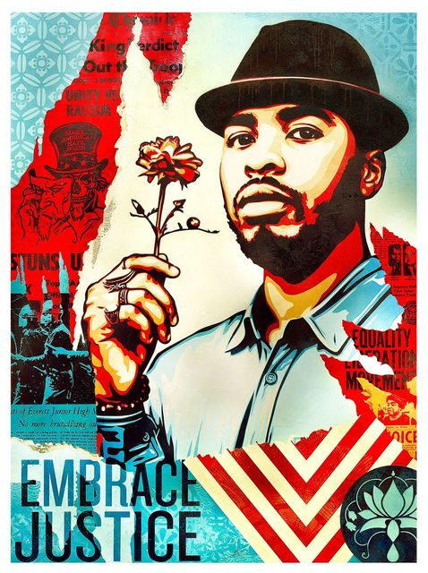 , 'Embrace Justice,' 2017, Library Street Collective