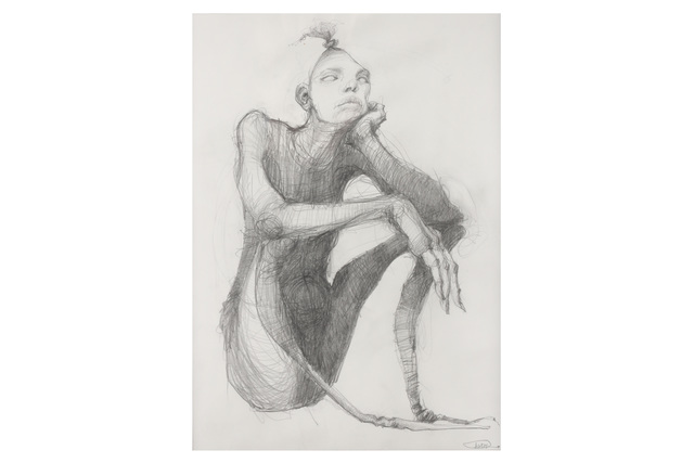 Herakut, 'The Thinker', 2007, Drawing, Collage or other Work on Paper, Graphite on paper, Chiswick Auctions