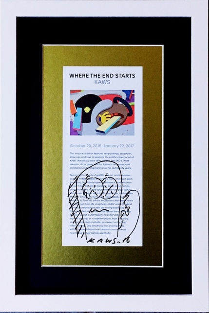 KAWS, 'Original signed drawing, gifted by KAWS to staff of Museum of Modern Art, Ft. Worth, Texas, accompanied by handwritten letter of provenance from the museum employee', 2016, Alpha 137 Gallery Auction