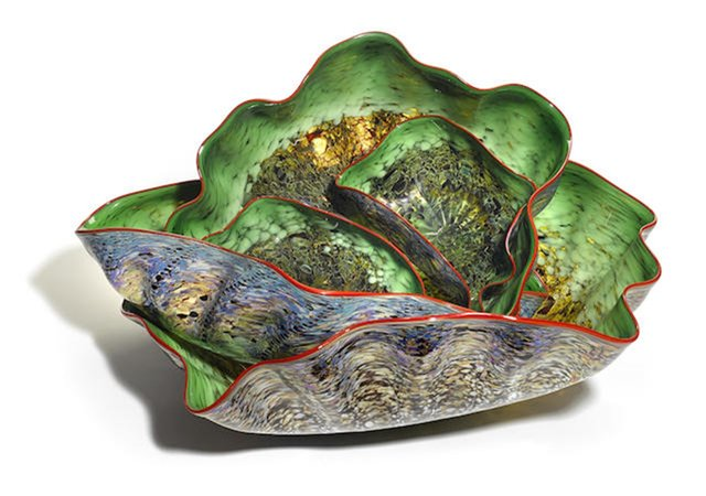 Dale Chihuly, 'Emerald Macchia Pheasant Set with Foxfire Lip Wraps', 2002, Heritage Auctions