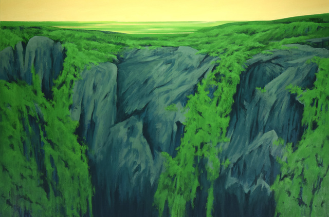 Harold Joiner, 'Fantasy: Edge of the Earth - landscape, verdant, green, yellow, foliage, cliff', 2019, Archway Gallery