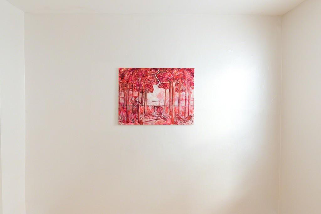 Jutta Koether, Leibhaftige Malerei (red version), 2007, Oil on canvas, 24 x 32 in / 61 x 81.5 cm