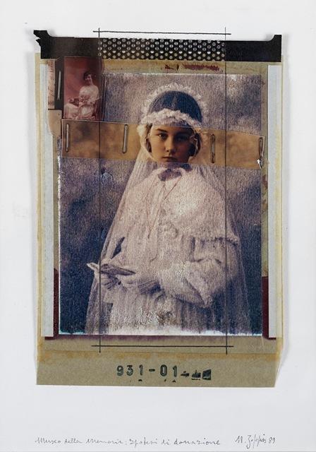 Natale Zoppis, 'From the series: Ritratto della Memoria, prove di donazione', 1989, Mixed Media, Mixed media (collage of polaroids and staples, interventions in pencil, applied on original cardboard), Finarte