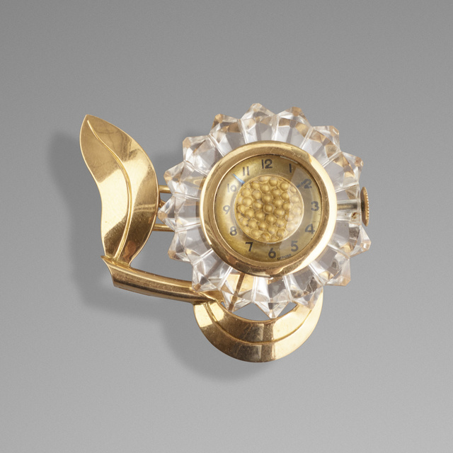 Mauboussin, 'Gold sunflower lapel watch', c. 1945, Wright
