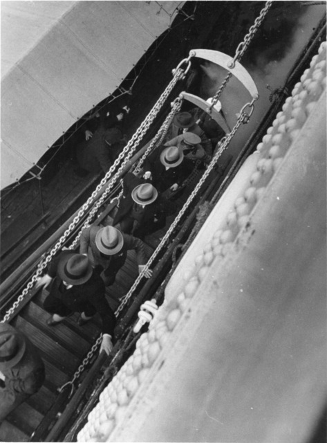 , '5 Men with Hats Coming On Board,' 1934, Robert Mann Gallery