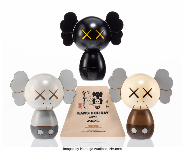KAWS, 'Kokeshi Doll, from Holiday Series, set of three', 2019, Heritage Auctions