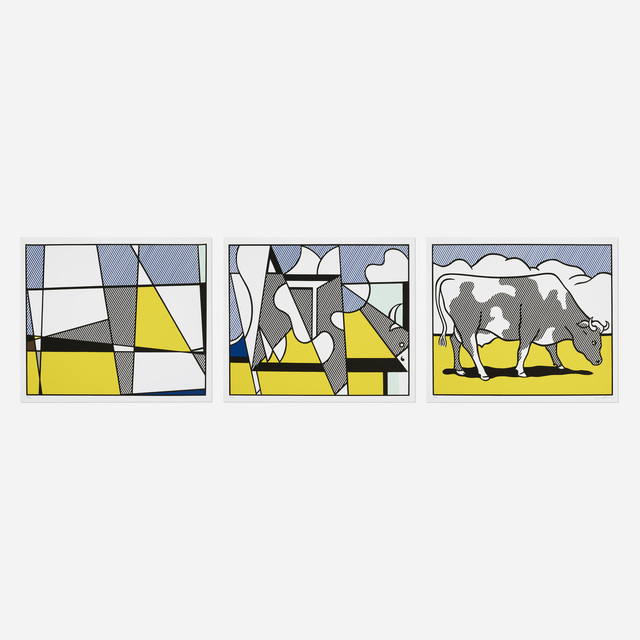 Roy Lichtenstein, 'Cow Triptych (Cow Going Abstract)', 1982, Wright