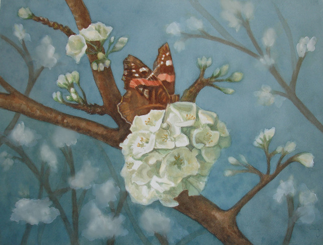 , 'Butterfly Feasting on a Flowering Plum Tree,' 2013, InLiquid